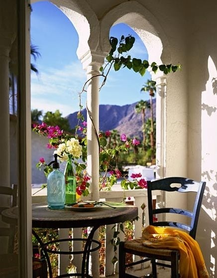 A peaceful corner of a  Cafe in Santorini